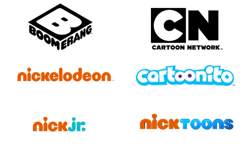 Kids' TV channels - Boomerang, Cartoon Network, Nickelodeon, Cartoonito, Nick Jr., Nicktoons