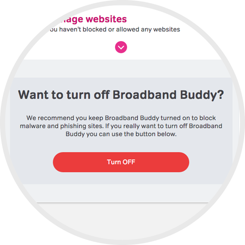 Turn off NOW TV Broadband Buddy
